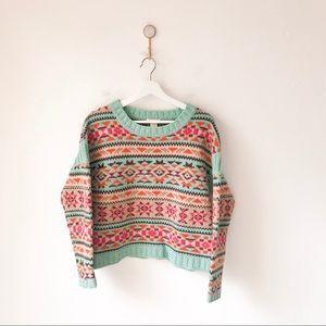 Sundance Aztec Print Wool Pullover Sweater Medium